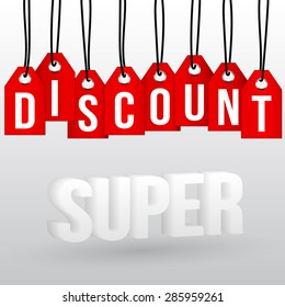 """Vector illustration of a word """"Discount"""" on bright red labels hanging on black ropes and 3D text """"Super"""""""