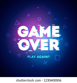 Vector Illustration word Game Over - Play Again in cyber noise glitch design. For games, banner, web pages. Three color half-shifted letters effect.