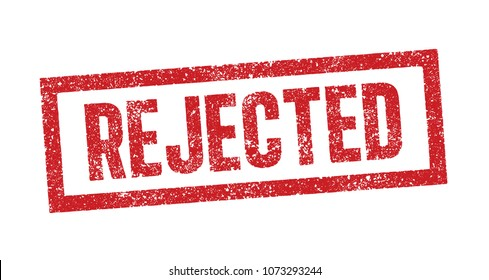 Vector illustration of the word Rejected in red ink stamp