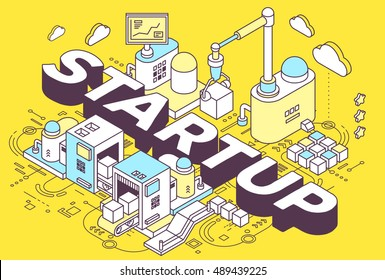 Vector illustration of word startup and three dimensional mechanism with conveyor, robotic hand on yellow background with scheme. Startup construction and development. 3d thin line art style design