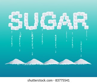 vector illustration of the word sugar formed from sugar cubes with small piles of sugar granules on  blue in eps 10 format