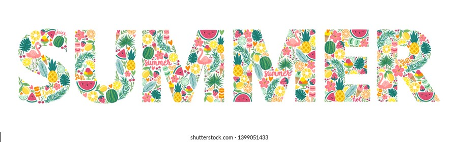 "Vector illustration with word ""Summer"" made from hand drawing elements: fruits, flower, leaves and flamingo. Summer quote is isolated on white."
