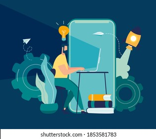 Vector illustration, work from home on the internet, creative space, self-isolation, freelancer working on laptop, online team work in startup vector