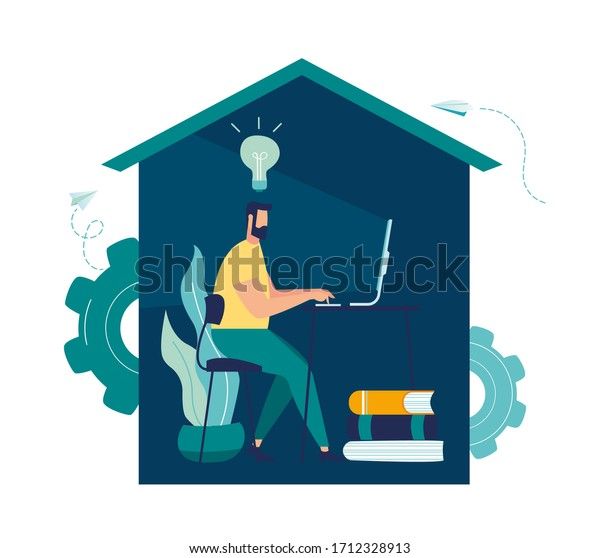 Vector illustration, work from home online, creative space, self-isolation, freelancer working on a laptop vector