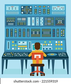 Vector illustration of work place sound engineer's. Mixing console. Analog synthesizer - vector illustration