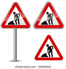 Vector illustration of work in progress sign on white background