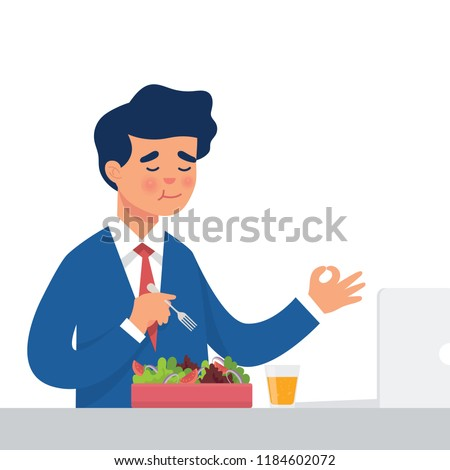 vector illustration worker eat salad in his office, healthy lifestyle illustration of worker eat raw vegetables for lunch