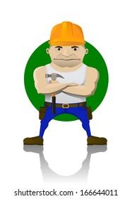vector illustration of a worker with a hammer