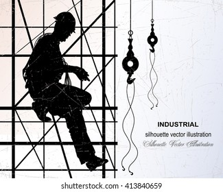 Vector illustration of Worker on construction scaffolding. Steel cables and hooks. Background of the building structure.