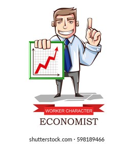 Vector illustration of a worker sales Manager to schedule. The cartoon image. Character professional economist isolated on white background