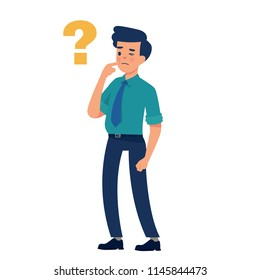 vector illustration worker standing and thinking with question sign, man standing and confusing with question mark
