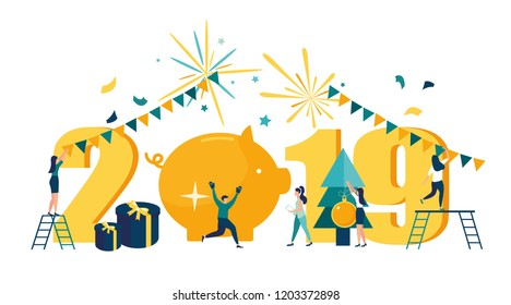 Vector illustration, workers celebrate Christmas and New Year, festive atmosphere, the year of the pig.