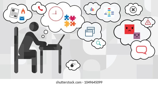 vector illustration of working with computer person silhouette with stress factors around it