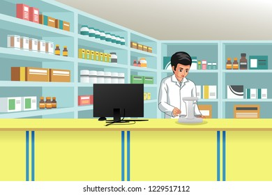 A vector illustration of Working Pharmacist at Pharmacy