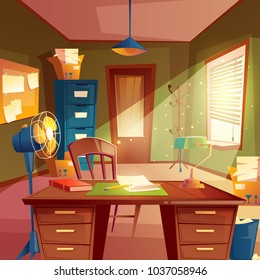Vector illustration of working space, study room interior. Desktop with table, cabinet, lamp, fan, bookshelves, board, box, chair. Place for agency Concept for education homework workplace