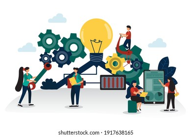 Vector illustration Working together with employees in the company, which allows the business to grow well because employees are creative, diligent, have modern technology in the organization