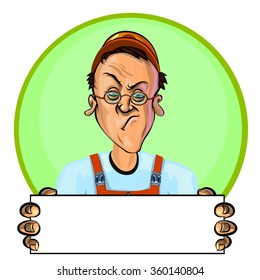 Vector illustration of a workman holding blank poster. Can be used an advertisement. Made in comic cartoon style.