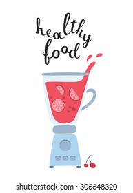Vector illustration of works blender with healthy fruit smoothie and lettering Healthy Food on white isolated background