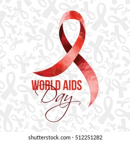 vector illustration. World AIDS Day. vektornlaya watercolor with a transparent background. isolated odekt. Red ribbon