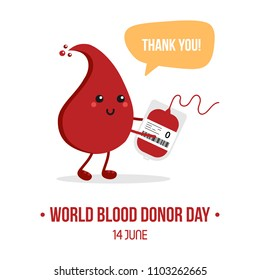 Vector illustration for World Blood Donor Day with cute cartoon blood drop character with blood bag, saying thank you for blood donation.