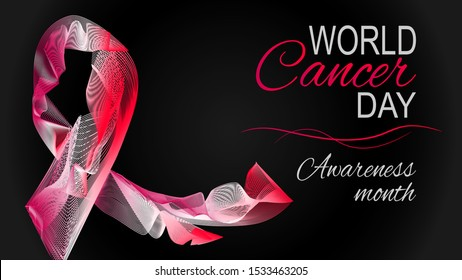 Vector illustration of World Cancer Day black background with ribbon.