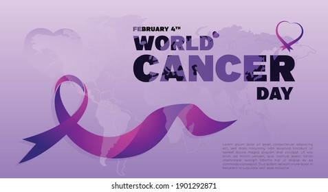 Vector illustration of World Cancer Day concept poster or post for print and social media.