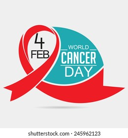 Vector illustration of World Cancer Day background with red ribbon.