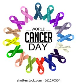 Vector illustration of World Cancer Day with ribbon.