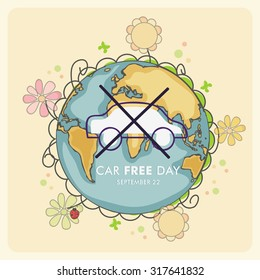 Vector illustration of World Car Free Day.