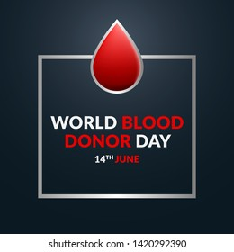 Vector illustration of world donor blood day, medical awareness dayin 14th June. Simple and clean banner design with donation qoutes