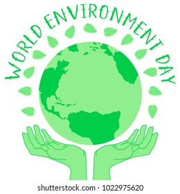Vector illustration for world environment day. World symbol with holding hands. Ecology friendly concept.