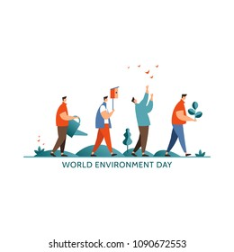 Vector illustration world environment day icon. Groupe people concept preserve nature