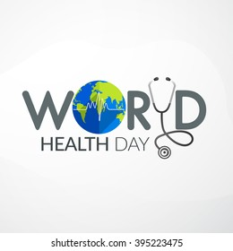 Vector Illustration of World health day concept text design with doctor stethoscope.