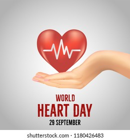 Vector illustration for World Heart Day 29 September with image of heart  cardiogram and heartbeat in multiple background