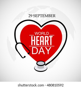 Vector illustration World Heart Day Background.