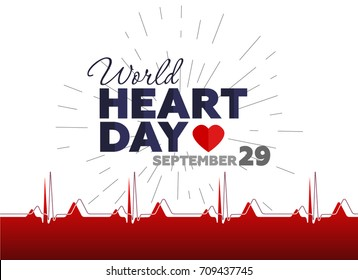 Vector illustration for World Heart Day with image of heart, and seamless cardiogram