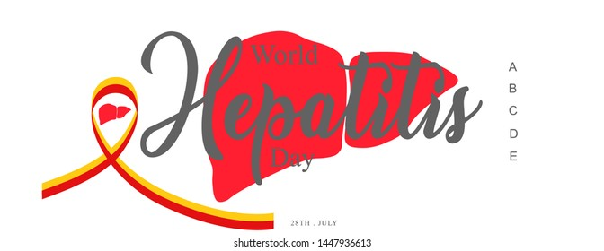 Vector Illustration of World Hepatitis Day (28 July) of type A, B, C, D, E with symbol-  Greeting Card, Poster or Banner