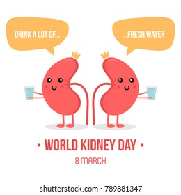 Vector illustration for world kidney day with couple of kidneys characters, holding glasses of water.