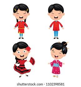 Vector Illustration Of World Kids