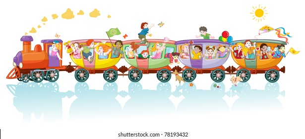 Vector illustration, world kids train, cartoon concept, white background.