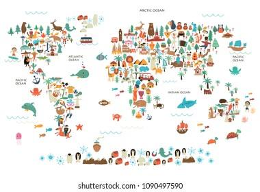 Vektorgrafik der Weltkarte mit Tieren, Menschen und nationalen Besonderheiten