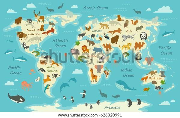 Children's World Map Wallpaper with Animals