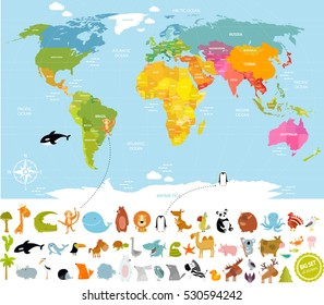 Vector illustration world map for children with lots of animals: bear, cow, elephant, whale, deer, crocodile, panda, monkey, giraffe,palm, ocean. America, Europe, Asia, Canada, Africa, Antarctica