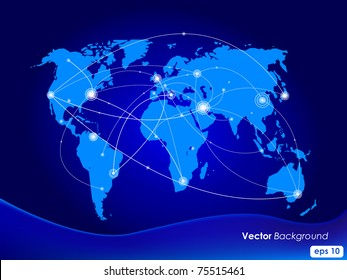 Vector illustration world map. Concept communication.