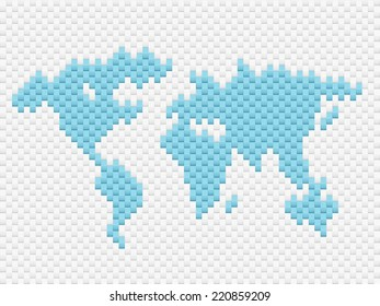 Vector illustration world map consisting of many plate with effect 3d.