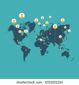 Vector illustration of world map with contact icons.