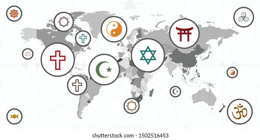vector illustration of world map and different religion symbol for spiritual journey and orientation visuals  - Shutterstock ID 1502516453
