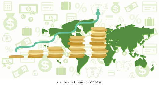 vector illustration of world map with financial elements and budget growth chart with green arrow and golden coins