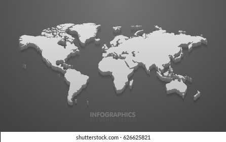 Vector illustration of world map mockup for infographics on the gray background.