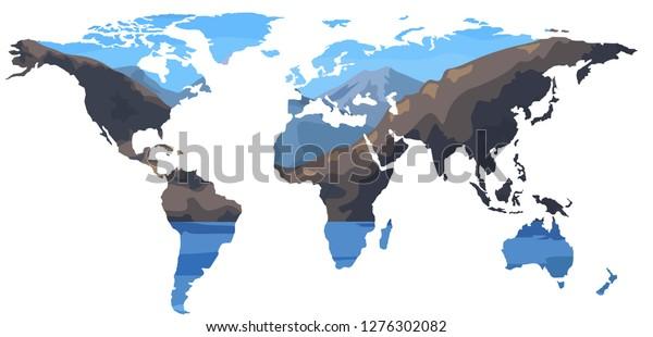 Vector Illustration World Map Mountains On Stock Vector ...